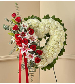 Red Rose and Lily Open Heart Standing Spray