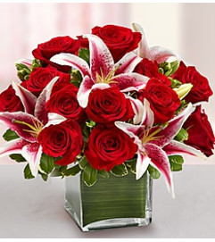 RED ROSES AND STARGAZER LILY