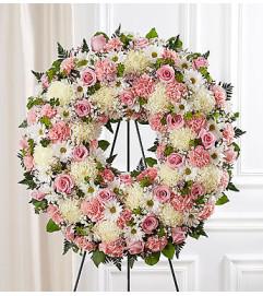 Serene Blessings Pink & White Standing Wreath