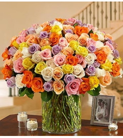 100 Premium Multicolored Roses in a Vase