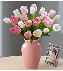 Tulips Together Bouquet™ - Pink and White