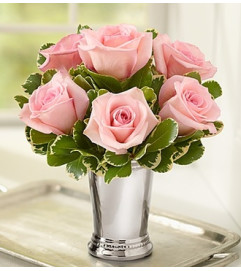 Julep Cup Rose Arrangement - Pink