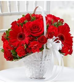 All Red Flower Girl Arrangement