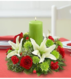 Classic Christmas Centerpiece - Pillar