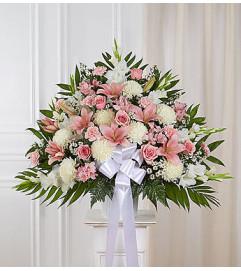 Heartfelt Sympathies™ Pink & White Standing Basket