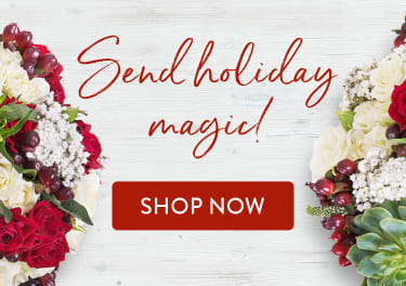 Beautiful red and white flowers in a Christmas bouquet - flower delivery in West Palm Beach