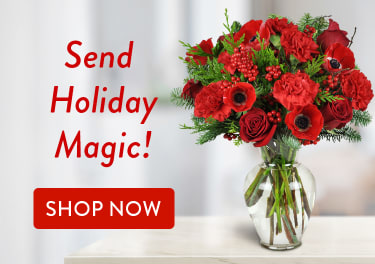 Red flower bouquet for Christmas gifting - flower delivery in Wetaskiwin