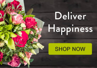 Lime green and pink roses and berries in a wrapped bouquet on a dark wood background - flower delivery in Dundas