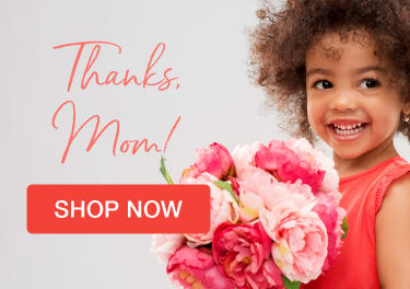 Girl with curly hair holding pink flowers for Mother's Day gift - flower delivery in Rockville Centre