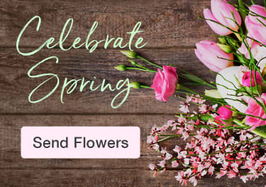 Springtime flower bouquet with pink tulips on a rustic wood background - flower delivery in Minot