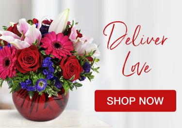Vibrant red flower arrangement - send love - flower delivery in Canton