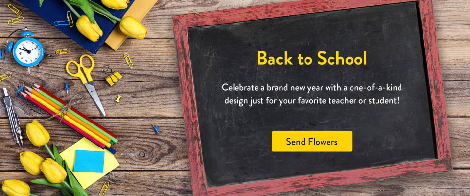 Image of flowers and back to school items on a chalkboard - flower delivery in Caddo Mills