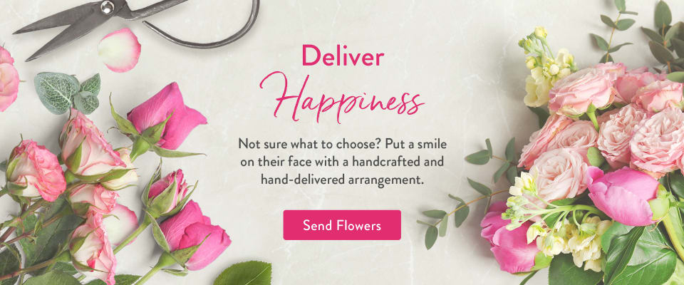 Pink roses, stock, eucalyptus, and florist shears - flower delivery in Adrian