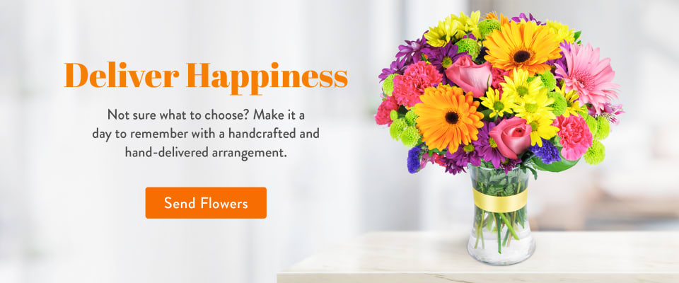 Colorful multicolor arrangement with daisies and roses in a vase - flower delivery in Max Meadows