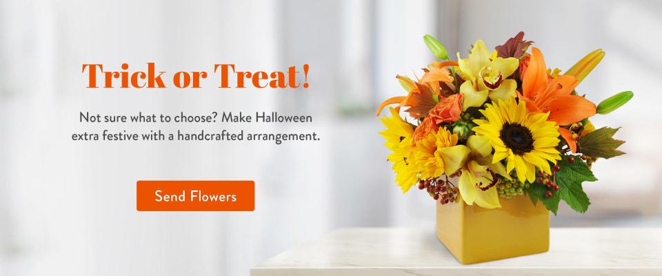 Autumn themed Halloween flower arrangement - flower delivery in Ridgewood
