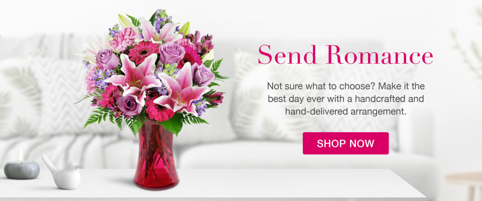 Beautiful pink flower arrangement for Valentine's Day or Romance - flower delivery in Woodbridge