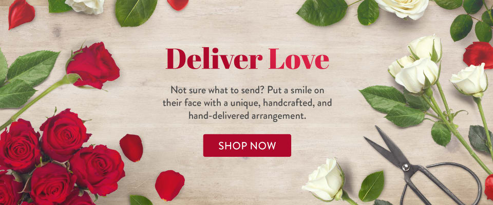 Romantic red and white roses for Valentine's Day - flower delivery in Vacaville