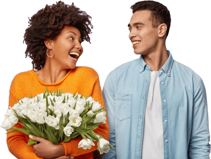 A couple with the girl holding flowers