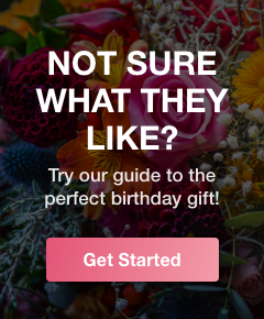 Floral background with text: NOT SURE WHAT THEY LIKE? Try our guide to the perfect birthday gift!