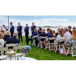 Red, white, blue beach wedding