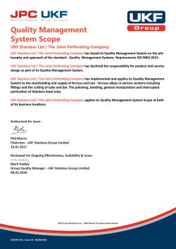 Quality Management System Scope