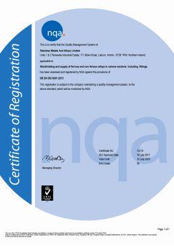 Certificat de Qualité - NI