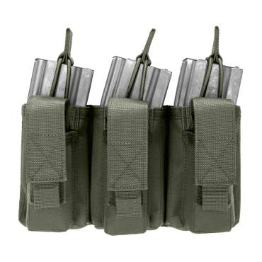 Warrior Triple Open 5.56mm Mag/Bungee Retention with 3 Pistol Mag Pouches Olive Drab
