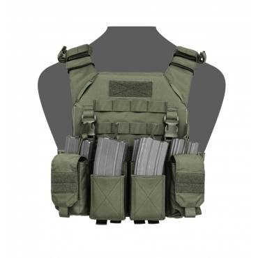 Warrior Recon Plate Carrier with Pathfinder Chest Rig Combo OD Green