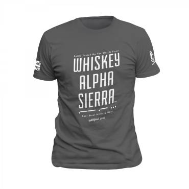 Whiskey Alpha Sierra T-Shirt Grey with White Print