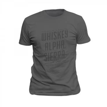 Whiskey Alpha Sierra T-Shirt Grey with Grey Print