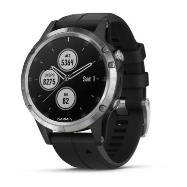 Garmin Fenix 5 Plus, Glass, Silver w/Black Band, GPS Watch, EMEA