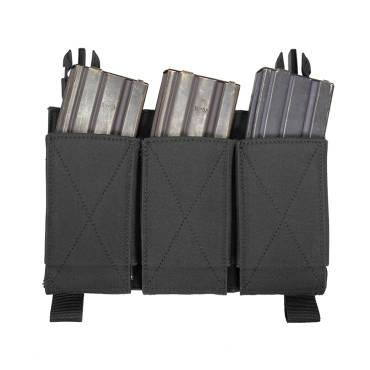 Warrior Detachable Front Panel Triple Elastic Mag Pouch Black