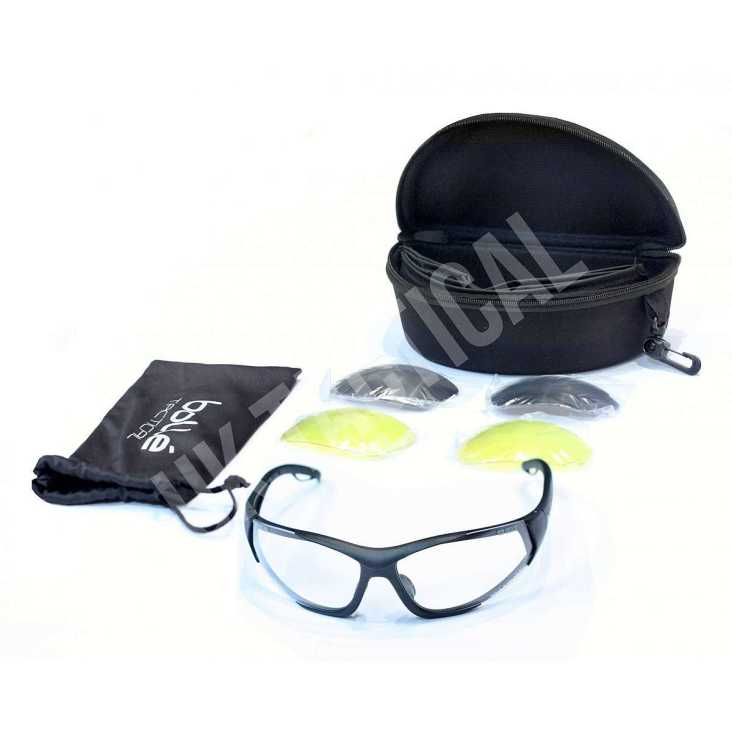 beb52a0965 Bolle Rogue Lightweight Ballistic Spectacles with Clear, Yellow and Smoke  Lens Kit, Black Frames