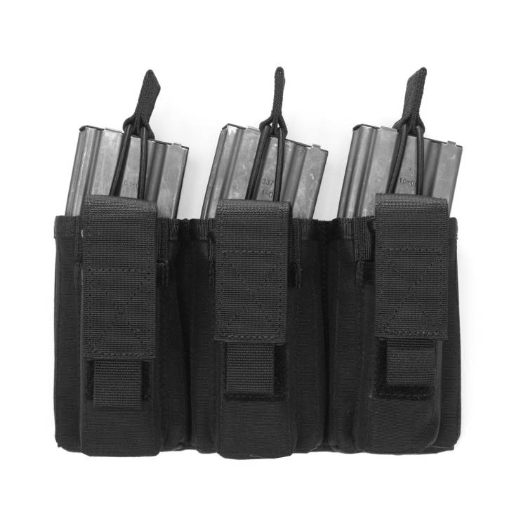 Warrior Triple Open 5.56mm Mag/Bungee Retention with 3 Pistol Pouches Black