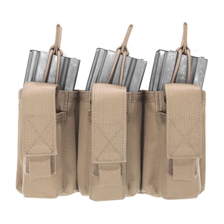 Warrior Triple Open 5.56mm Mag/Bungee Retention with 3 Pistol Mag Pouches Coyote Tan