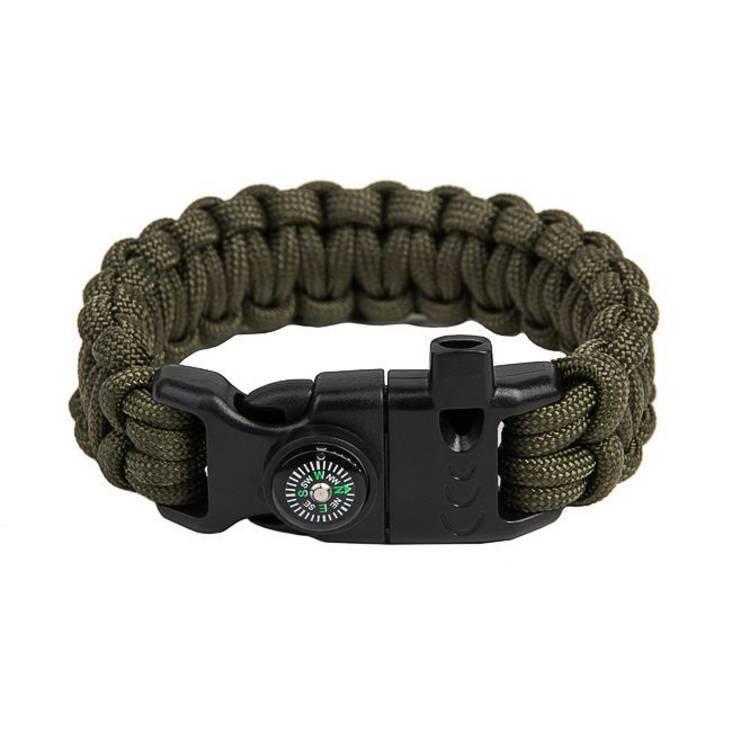 Survival Paracord Bracelet Cobra Olive Green
