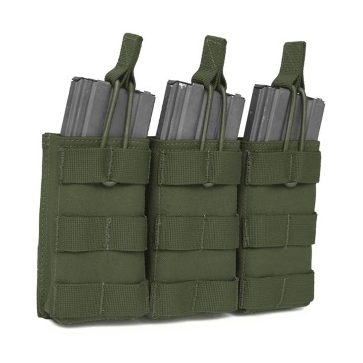Warrior Triple 5.56mm Open Mag Pouch Olive Drab