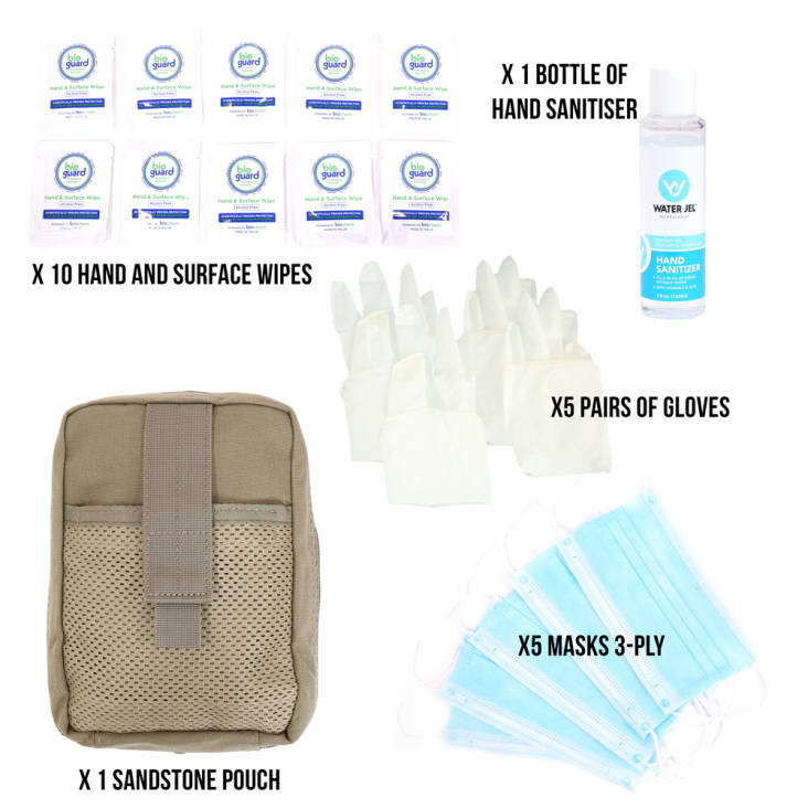 Stay Safe Individual PPE Kit - In Sandstone Pouch