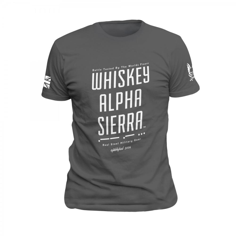 Whiskey Alpha Sierra T-Shirt Grey with White Print