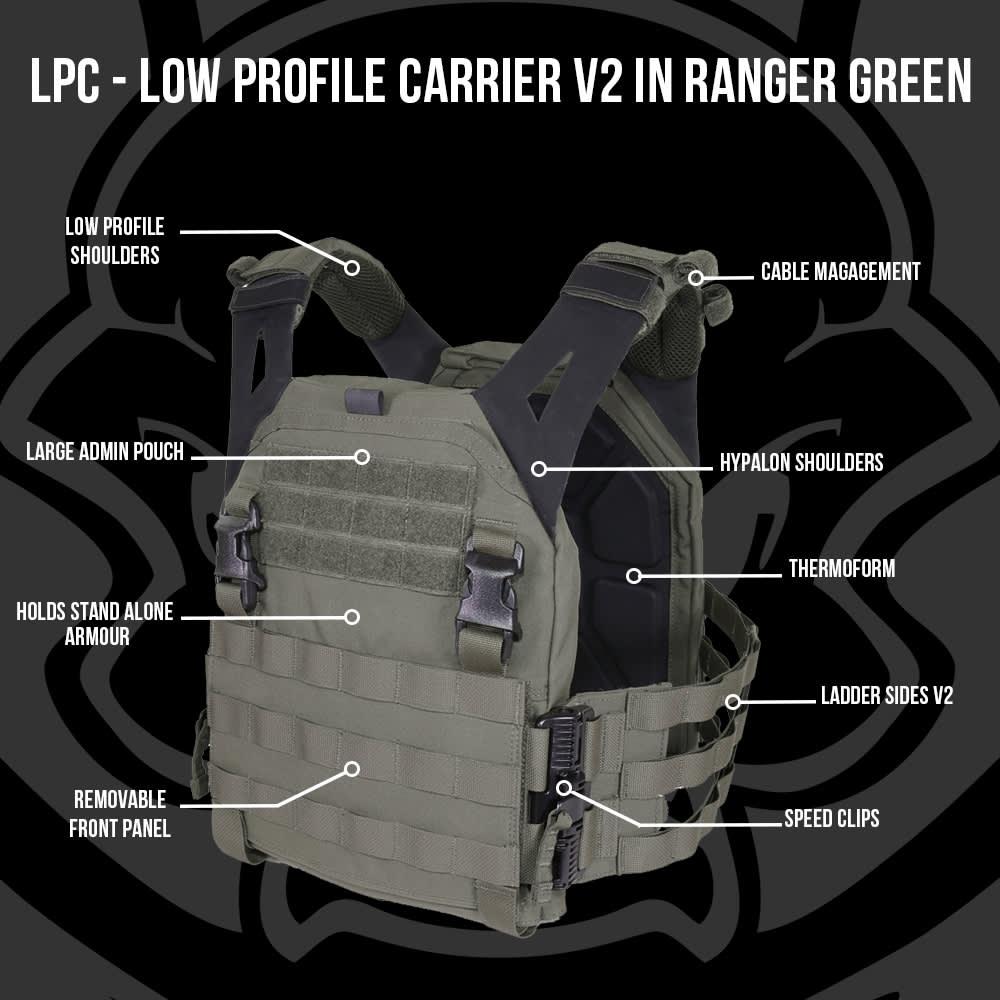 Warrior Low Profile Carrier V2 with Ladder Sides Ranger Green