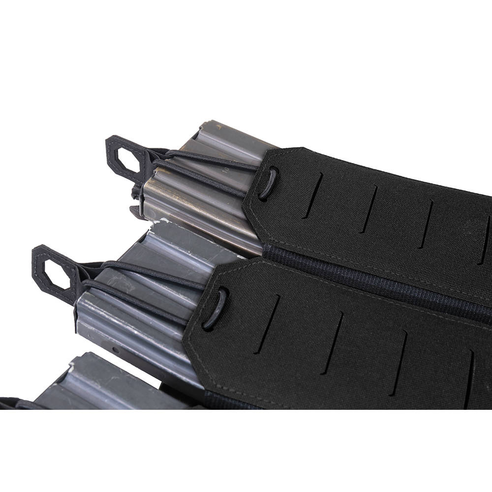 Warrior Laser Cut Detachable Front Panel Triple Bungee 5.56 Panel Black