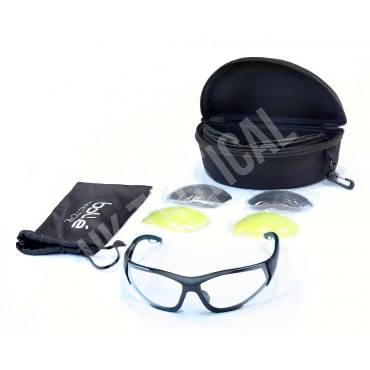 Bolle Rogue Lightweight Ballistic Spectacles with Clear, Yellow and Smoke Lens Kit, Black Frames
