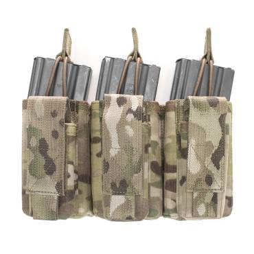 Warrior Triple Open 5.56mm Mag/Bungee Retention with 3 Pistol Mag Pouches MultiCam
