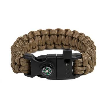 Survival Paracord Bracelet Cobra Coyote Brown