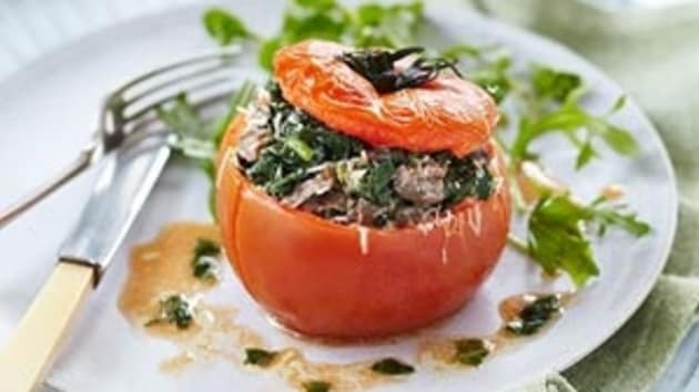 Stuffed tomatoes with mushrooms parmesan and spinach good food stuffed tomatoes with mushrooms parmesan and spinach forumfinder Images