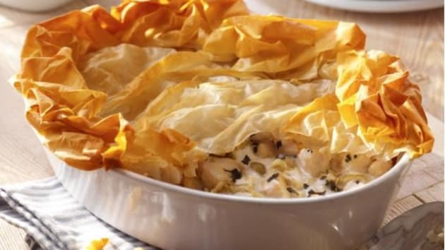 Chicken and leek pie with filo good food channel chicken and leek pie with filo forumfinder Images