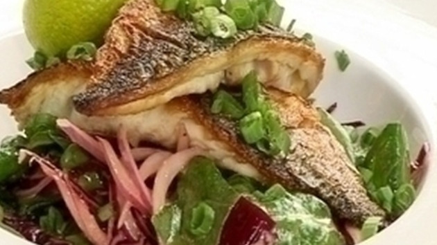 Mackerel with asian style coleslaw and miso dressing good food channel mackerel with asian style coleslaw and miso dressing forumfinder Choice Image