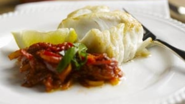 Cod with pepperonata and basil good food channel cod with pepperonata and basil forumfinder Image collections
