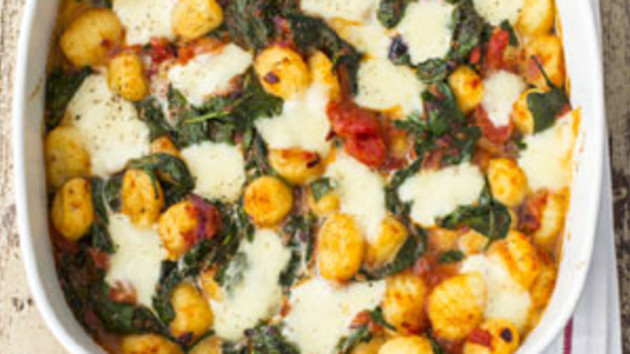 Baked gnocchi with spinach tomato and mozzarella good food channel baked gnocchi with spinach tomato and mozzarella forumfinder Image collections