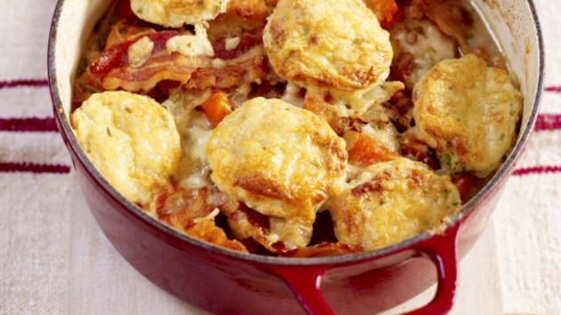 Chicken casserole with cheesy herb dumplings good food channel chicken casserole with cheesy herb dumplings forumfinder Image collections
